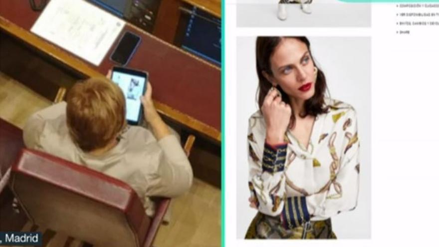 Villalobos y la ropa en la tablet