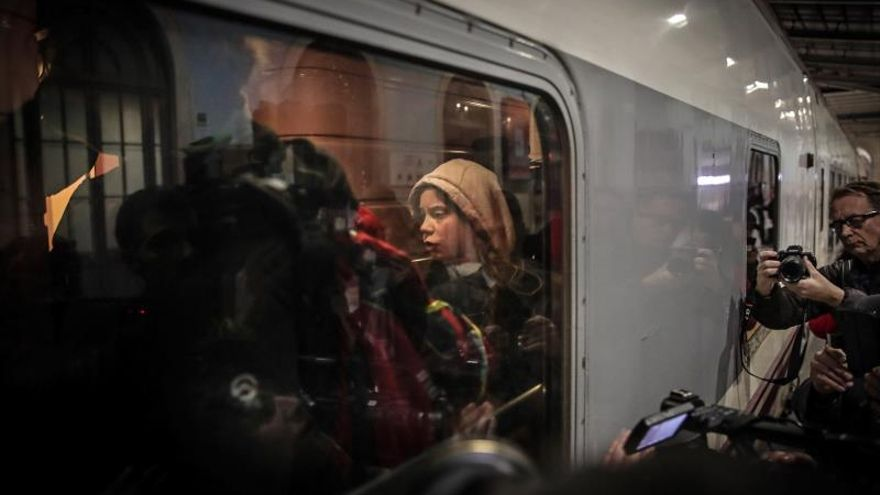 Greta Thunberg llega a Madrid tras un viaje en tren de 10 horas desde Lisboa