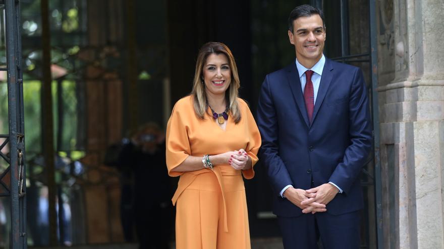 El presidente del Gobierno, Pedro Sánchez, y la presidenta de la Junta, Susana Díaz, se reúnen en el Palacio de San Telmo tras el Consejo de Ministros celebrado en Sevilla