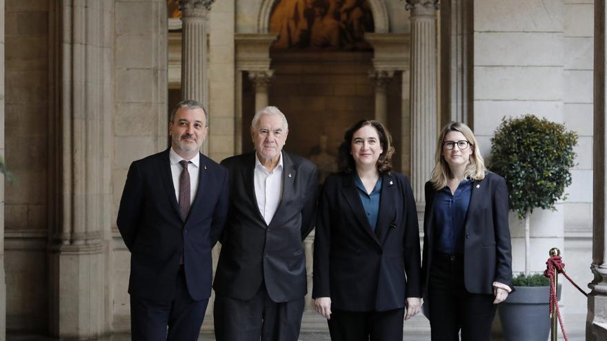 Jaume Collboni (PSC), Ernest Maragall (ERC), Ada Colau (Bcomú) y Elsa Artadi (JxCat)