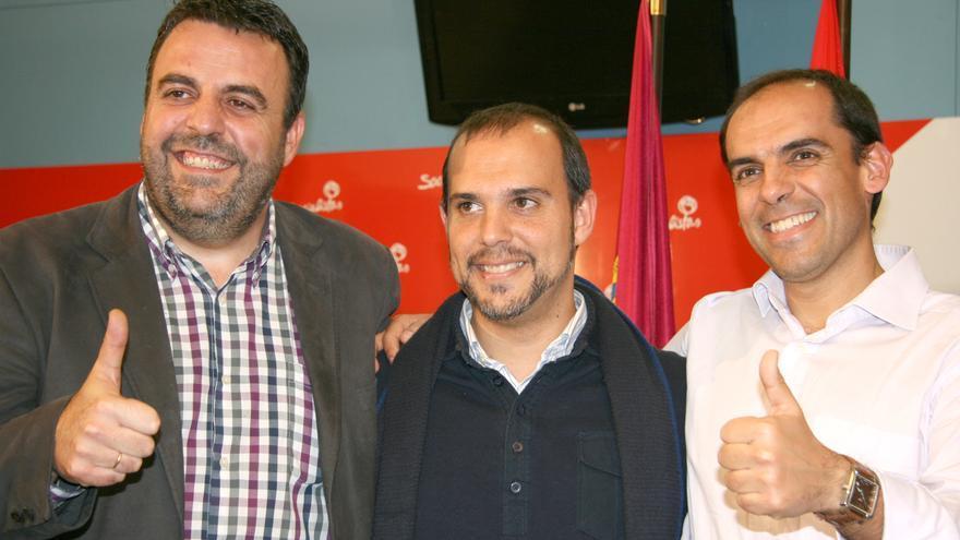 José Luis Blanco (izq), Pablo Bellido (cen) y Daniel Jiménez (der), PSOE provincia de Guadalajara