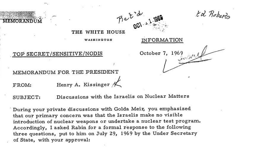 Documento redactado en 1969 por Henri Kissinger para el presidente Richar Nixon sobre su reunión con la primera ministra Golda Meir.