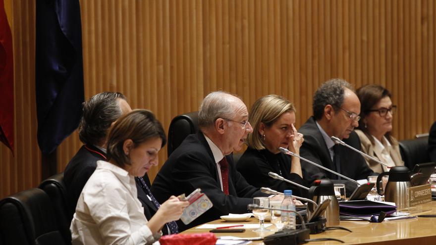 Rodrigo Rato durante su intervención en la comisión de investigación sobre la crisis