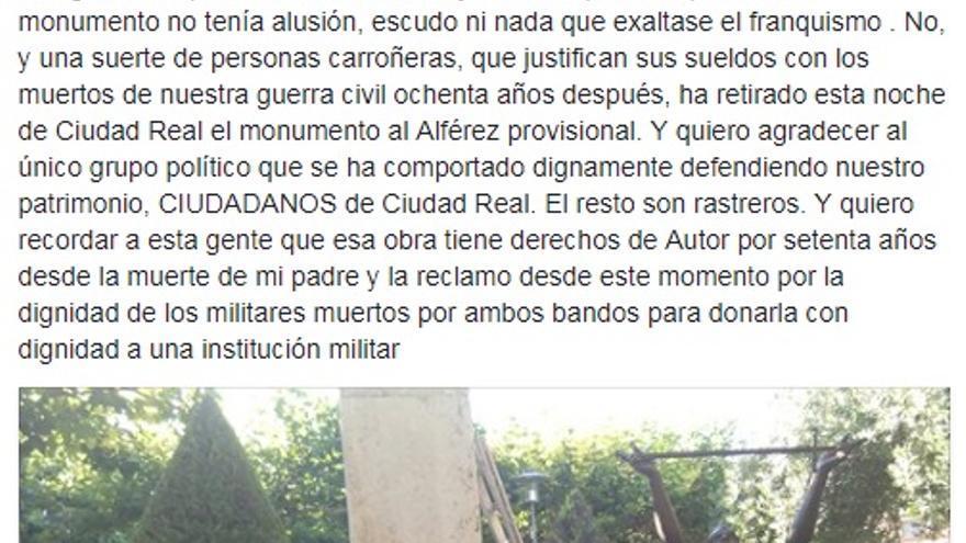 Post de Salvador Amaya en una red social