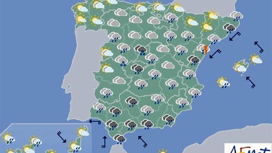 Lluvias fuertes en Tarragona, Valencia y el sur de Andalucía para hoy