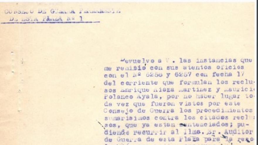 Uno de los documentos del Consejo de Guerra de Enrique Riaza Martínez que incluye su firma