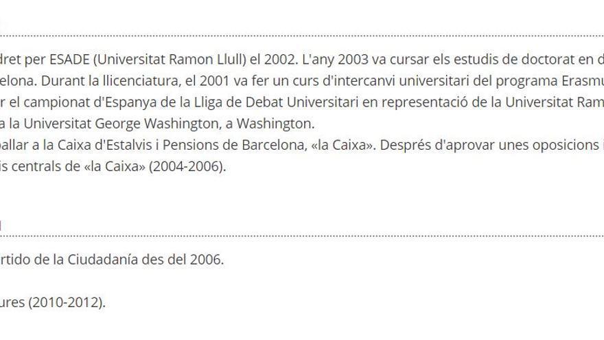 Biografía de Albert Rivera en el Parlament catalán
