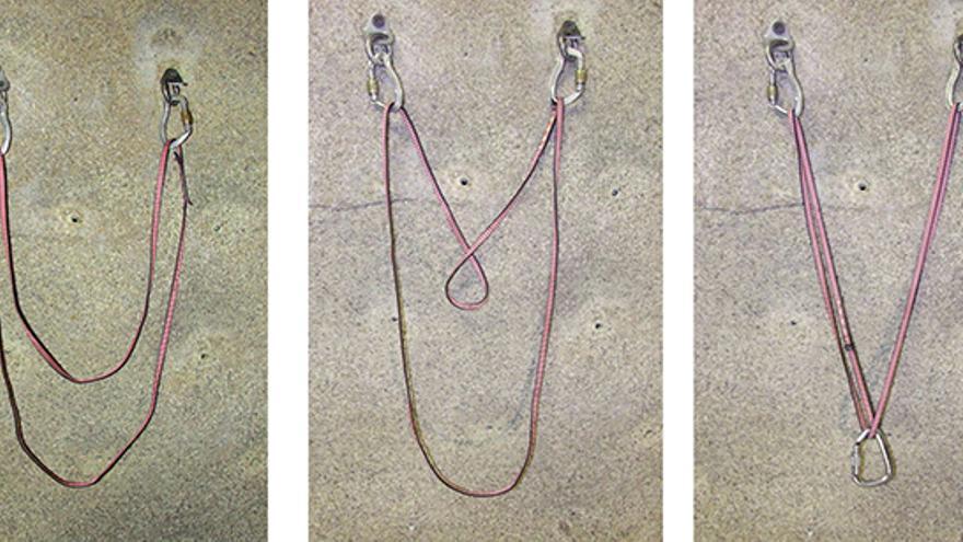 Ecualización sobre dos puntos con mosquetones de seguridad y aro de cinta cosida para un descuelgue para la práctica de la escalada en polea.