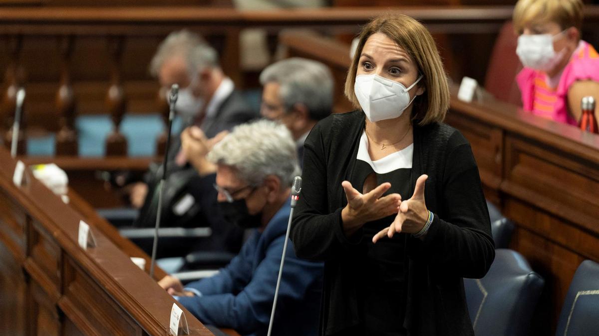 Noemí Santana, en el Parlamento de Canarias