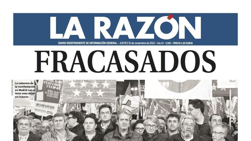 Portada de La Razón, 15 de noviembre de 2012.