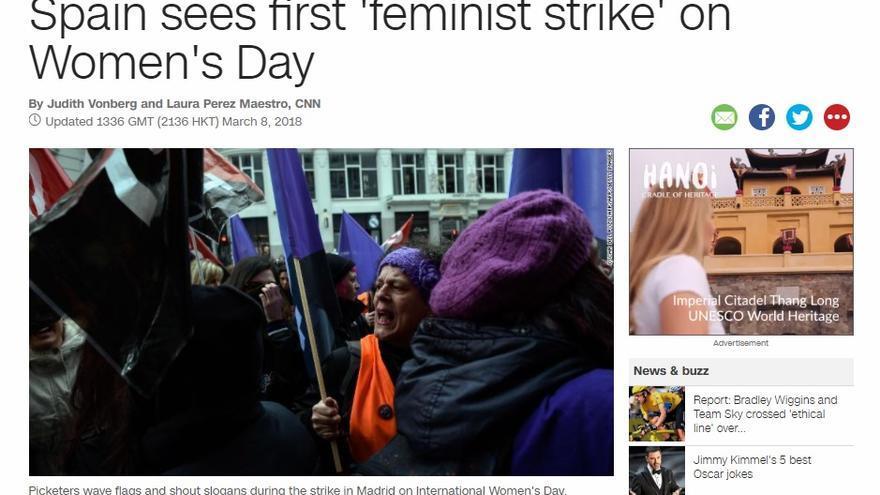 Información de la CNN sobre la huelga feminista en España.