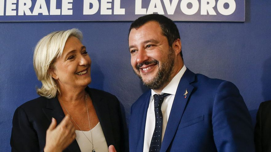 Meeting in Rome with Marine Le Pen and Matteo Salvini - French Member of Parliament and president of the far-right 'Rassemblement National' party, Marine Le Pen (left) and Italian Interior Minister and Deputy Premier Matteo Salvini (right), attend at meeting ''Economic growth and social prospects in a Europe of nations'', Rome, Italy 8 October 2018.
