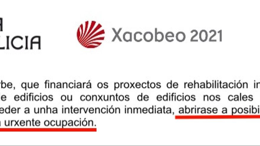 Nota de prensa de la Xunta destacando que la nueva ley de rehabilitación abre la puerta a expropiaciones