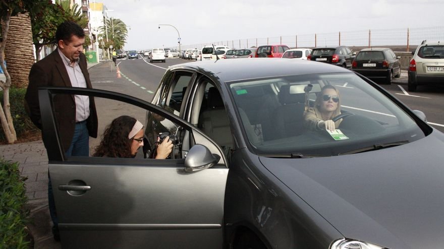 En la imagen, rodaje del anuncio de la zona verde de aparcamiento.