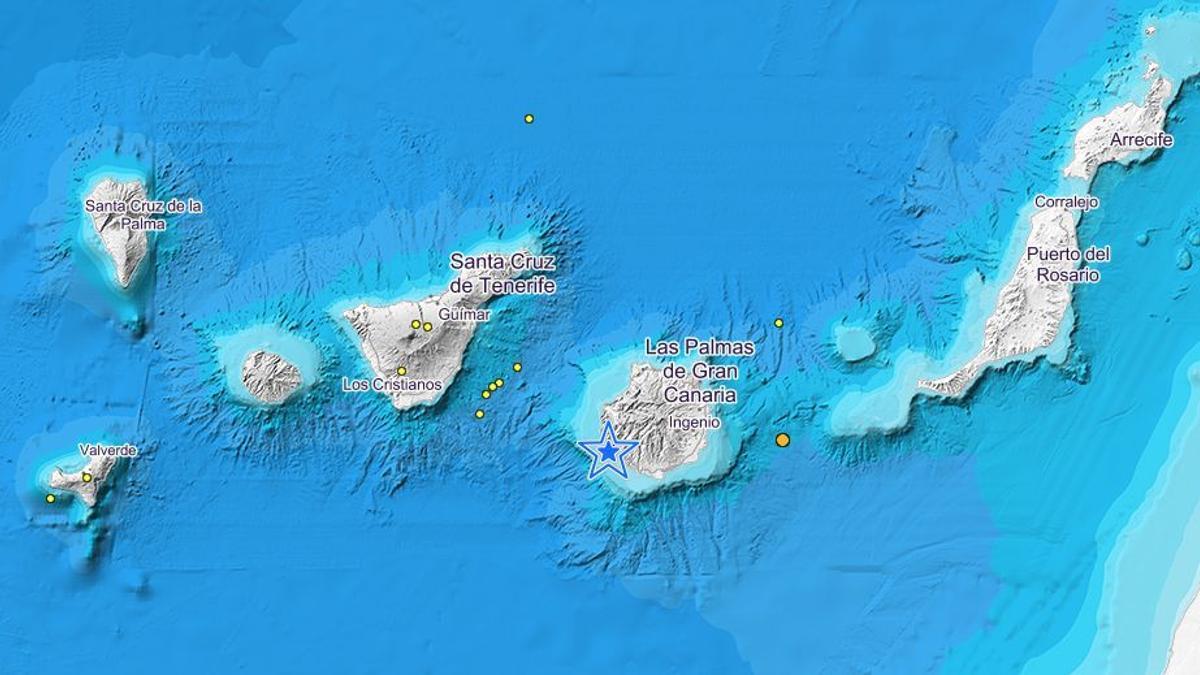 Terremotos localizados por el IGN en el entorno de Canarias