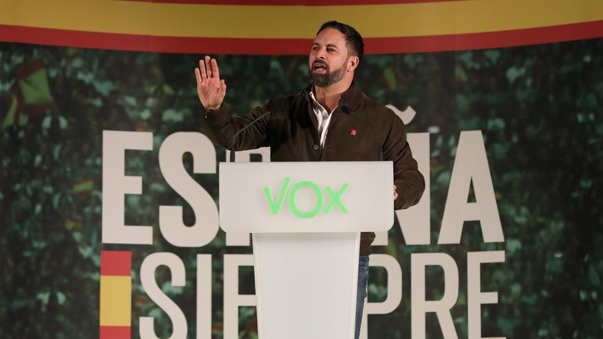 El presidente de Vox, Santiago Abascal durante su intervención. En Dos Hermanas (Sevilla)