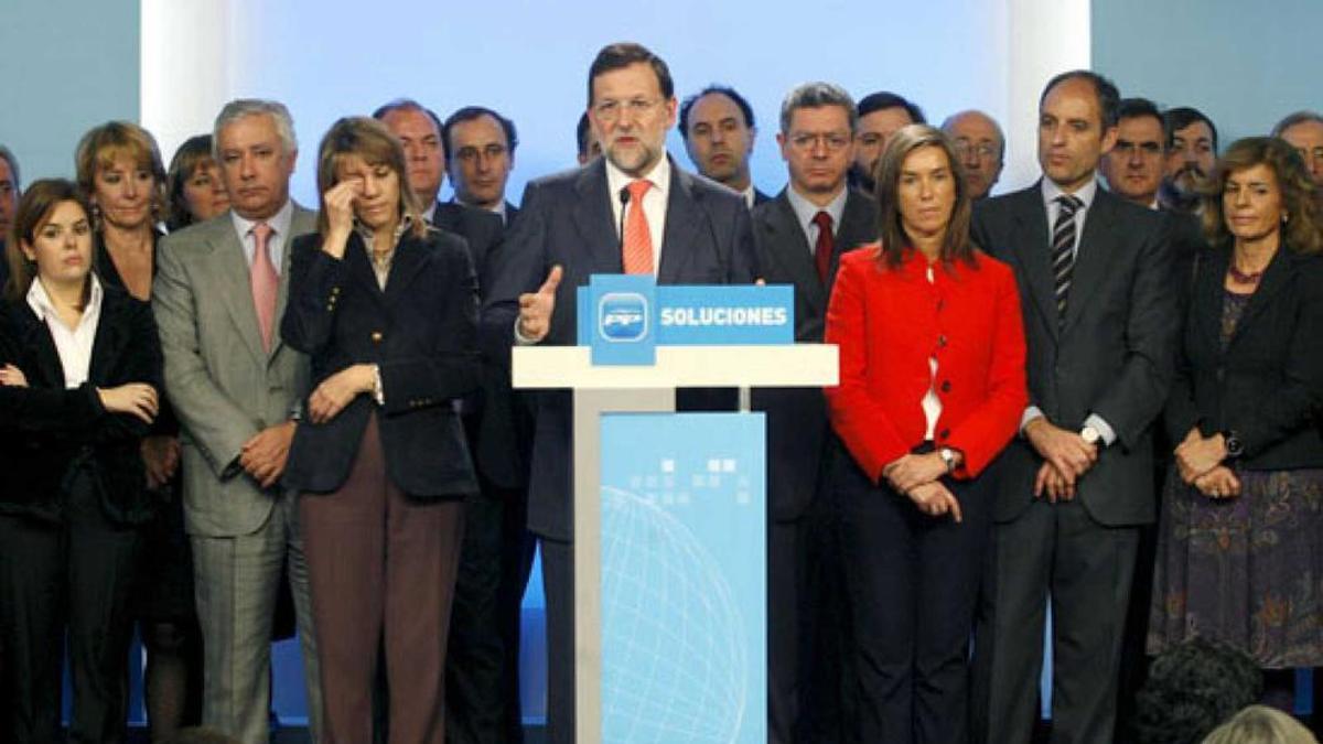 """Rueda de prensa en la que Rajoy presentó la Gürtel como """"una trama contra el PP"""" en febrero de 2009"""