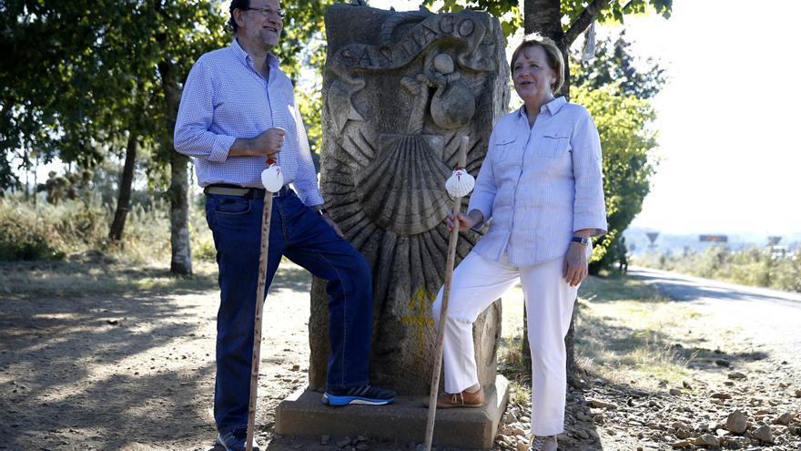 Rajoy con Angela Merkel en la visita que la canciller alemana hizo a Santiago en agosto de 2014
