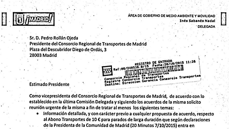 Carta de Inés Sabanés al presidente del Consorcio Regional de Transportes de Madrid.