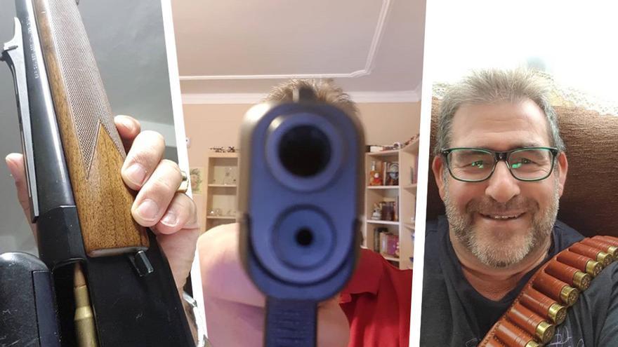Fotografías con armas publicadas en los perfiles de José Luis Moyano en Facebook e Instagram.
