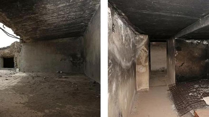 Plaza circular vista desde el interior y restos de un colchón quemado en el interior de la estructura