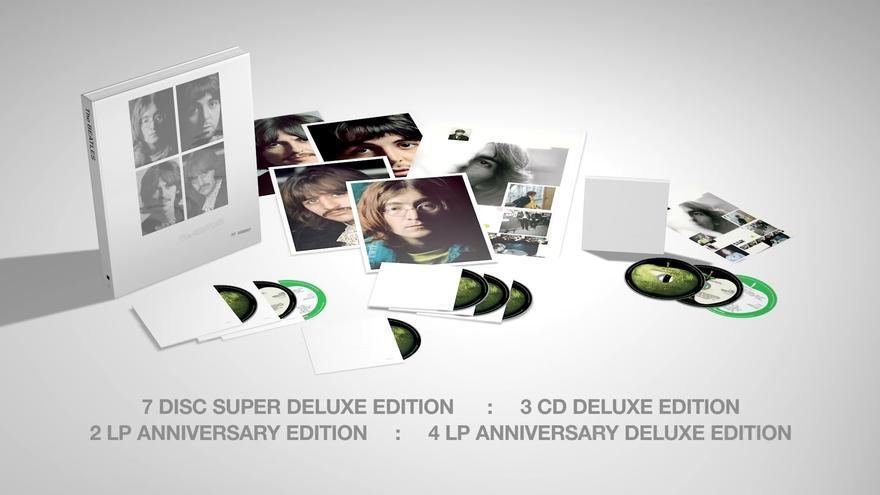 Imagen promocional con los distintos formatos de la edición 50 aniversario del White Album de los Beatles