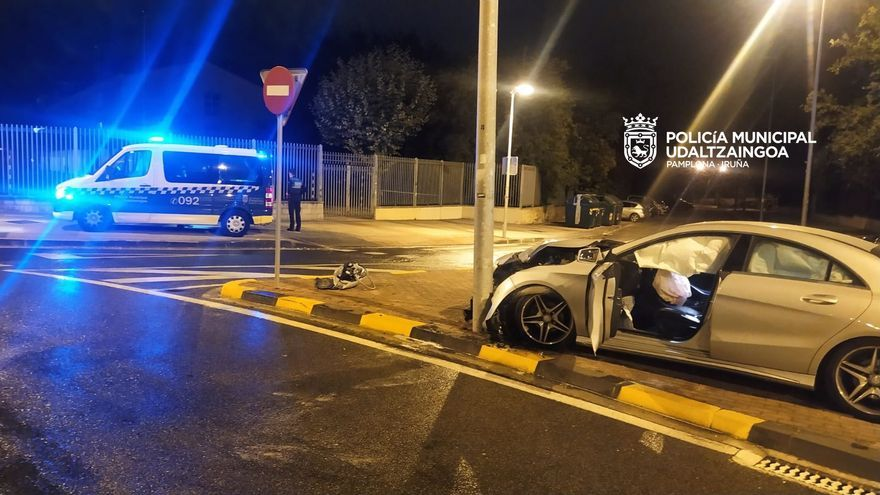 Imagen del accidente en la calle Biurdana de  Pamplona