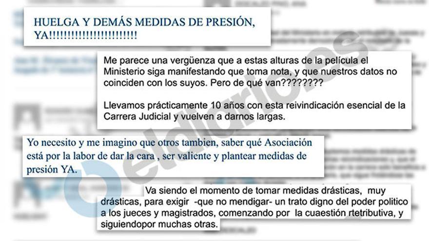 Recopilación de mensajes escritos por jueces en el correo electrónico del Consejo del Poder Judicial pidiendo la convocatoria de huelgas y paros.
