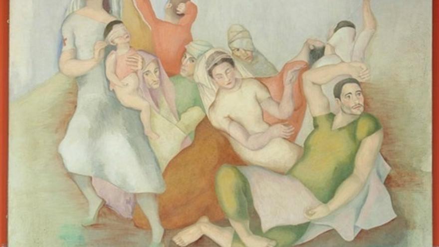 El fresco 'Ama la paz y odia la guerra' es una de las obras más conocidas del pintor Luis Quintanilla.