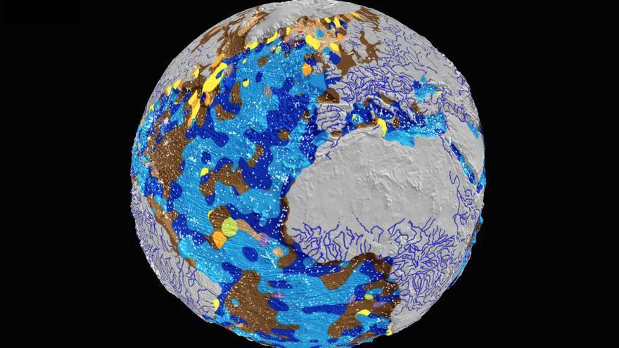 Mapa de la distribución de los sedimentos del fondo marino / Adriana Dutkiewicz