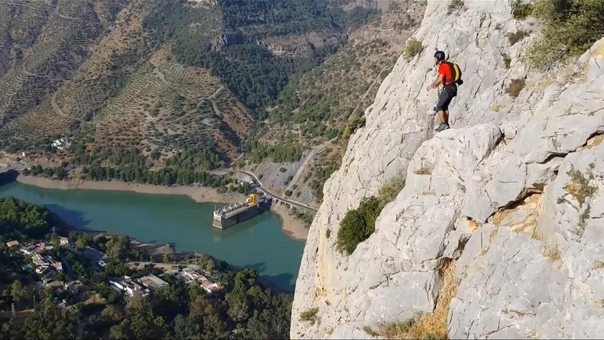 Salto BASE en El Chorro, Málaga