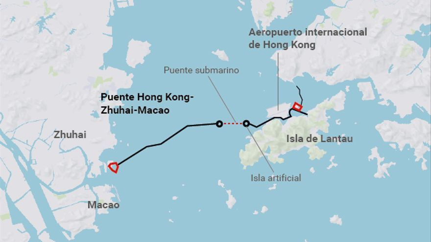 Trazado del puente de 55 kilómetros, el más largo del mundo
