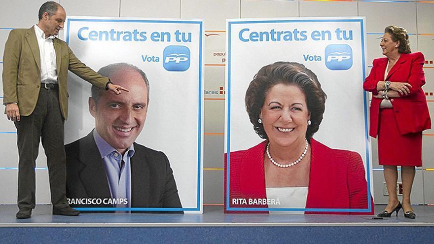 Francisco Camps y Rita Barberá en un acto de la campaña de 2007.