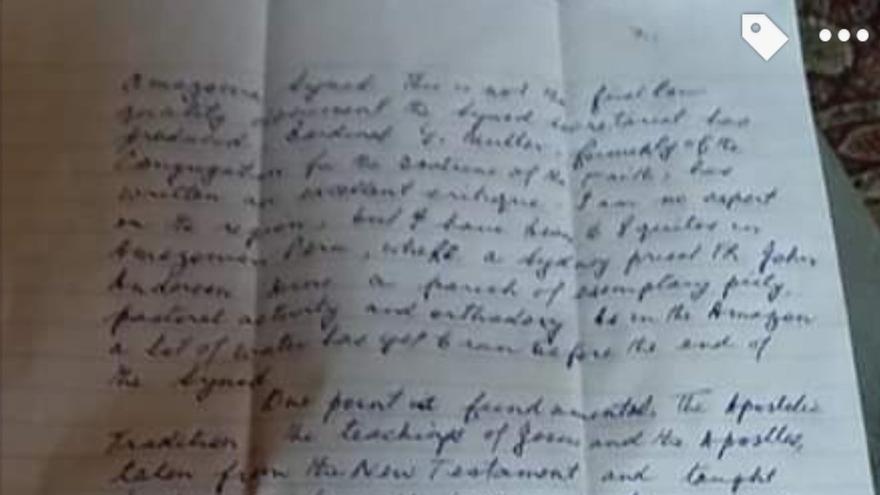 Segunda página de la carta de Pell enviada desde prisión, en contra del Papa