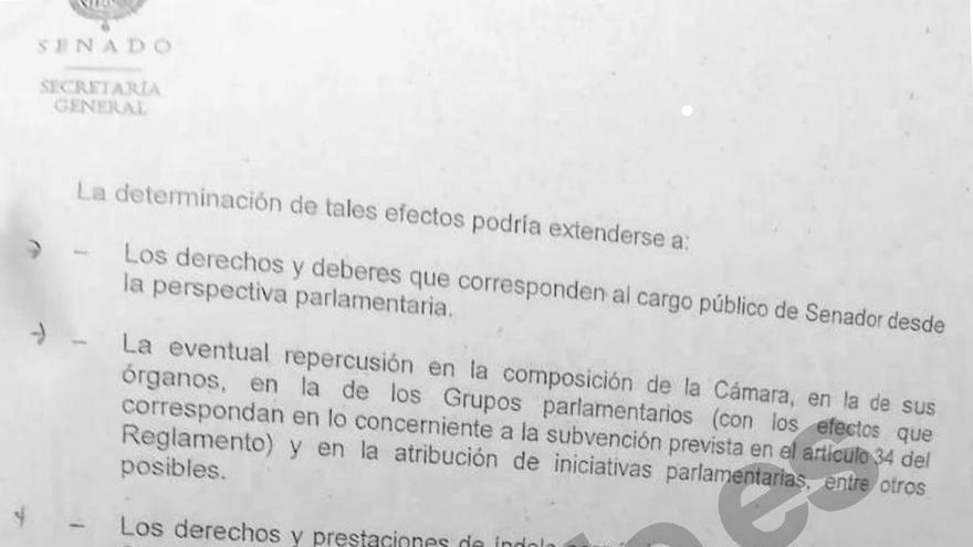 Conclusiones del informe de los letrados del Senado