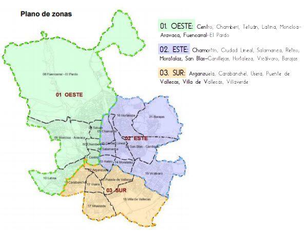 Plano de zonas de recogida de residuos | Imagen: Ayuntamiento de Madrid
