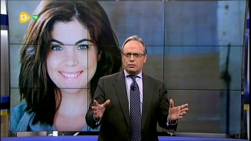 Urdaci, durante uno de sus editoriales en 13TV