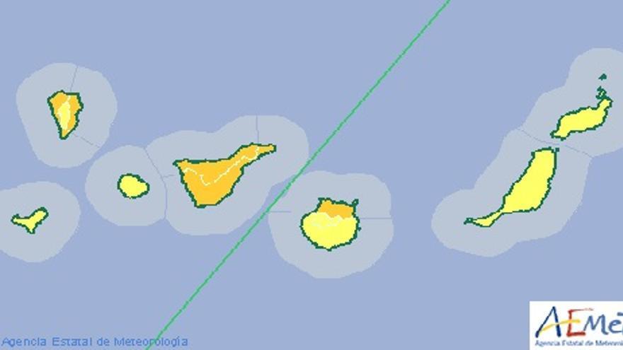 Avisos amarillos y naranjas decretados por la Aemet para este miércoles.