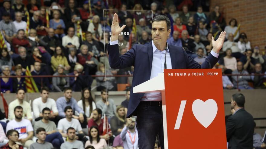 Pedro Sánchez en el acto del PSC en Barcelona