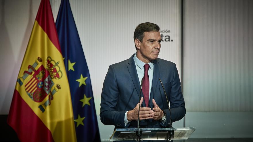 El presidente del Gobierno, Pedro Sánchez, interviene en un acto para abrir el nuevo curso político, a 1 de septiembre de 2021, en Casa América, Madrid, (España)