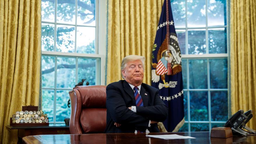 El presidente estaounidense Donald Trump en el Despacho Oval de la Casa Blanco.