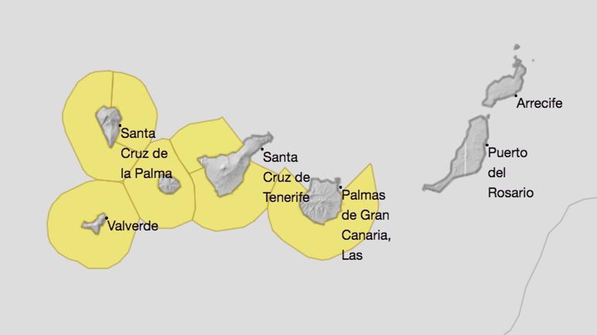 Mapa de la Aemet de los avisos de riesgo por fenómenos costeros este sábado,  31 de julio.