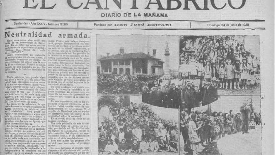 Fragmento de la portada del diario El Cantábrico, que recoge distintos momentos de la inauguración de un monumento en Los Corrales al fundador de Las Forjas de Buelna, José María Quijano.