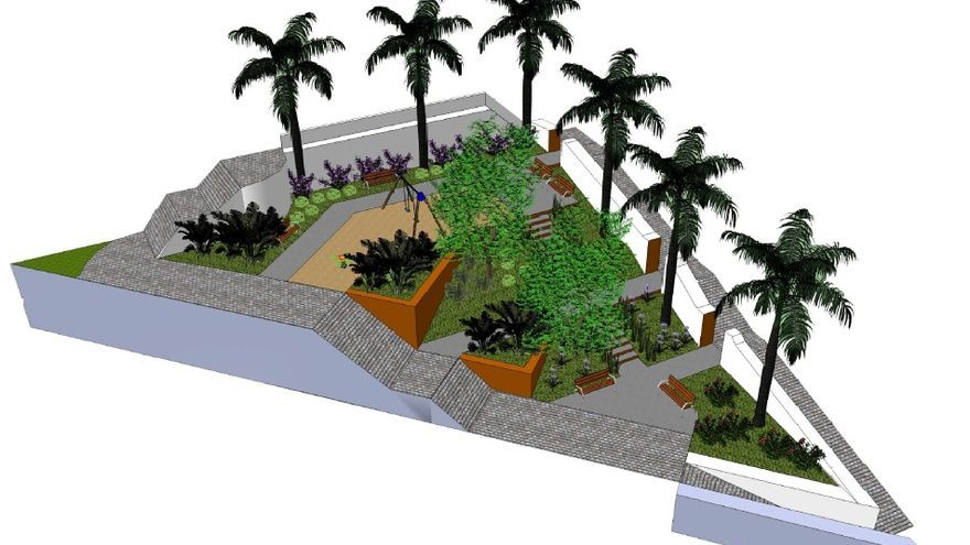 En la imagen, recreación general del jardín en tres dimensiones.