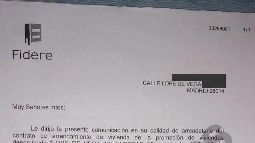 Burofax de Fidere que informa de que no renueva el contrato a siete familias en la calle Lope de Vega.