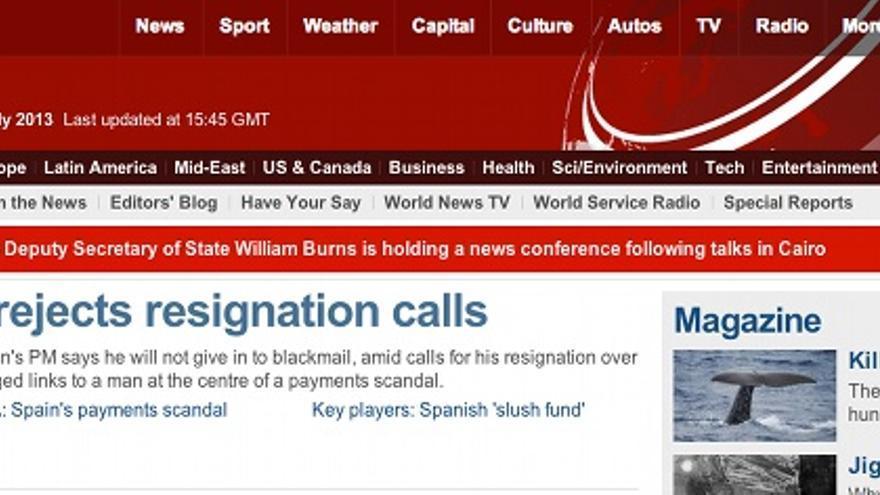 Página web de BBC News en la tarde del lunes.