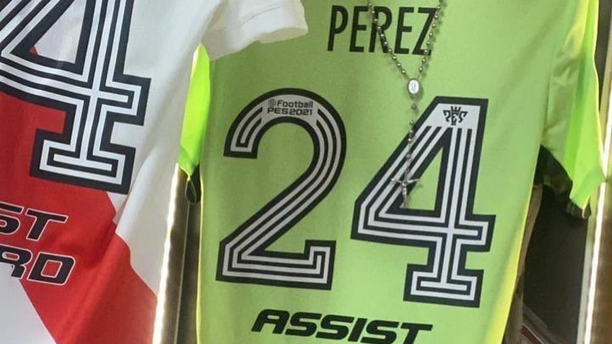 La camiseta de arquero que utilizará esta noche Enzo Pérez.