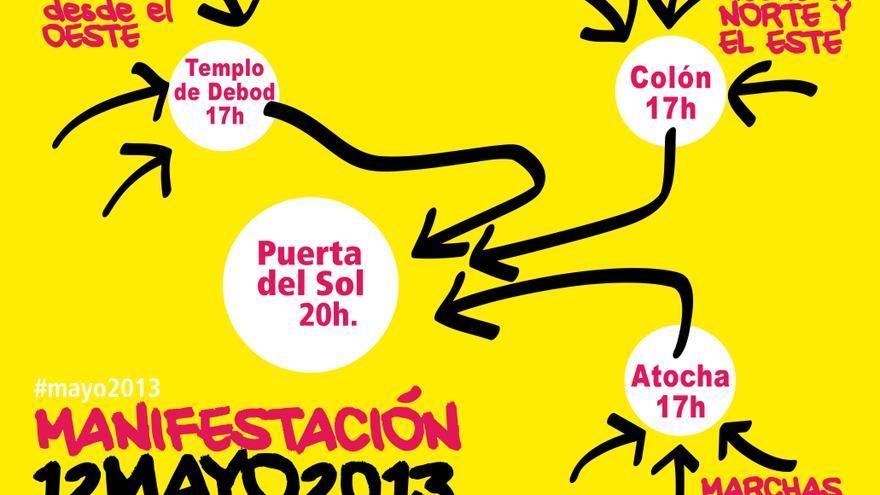 Recorridos de la manifestación el 12m  en Madrid / Imagen: Toma la Plaza