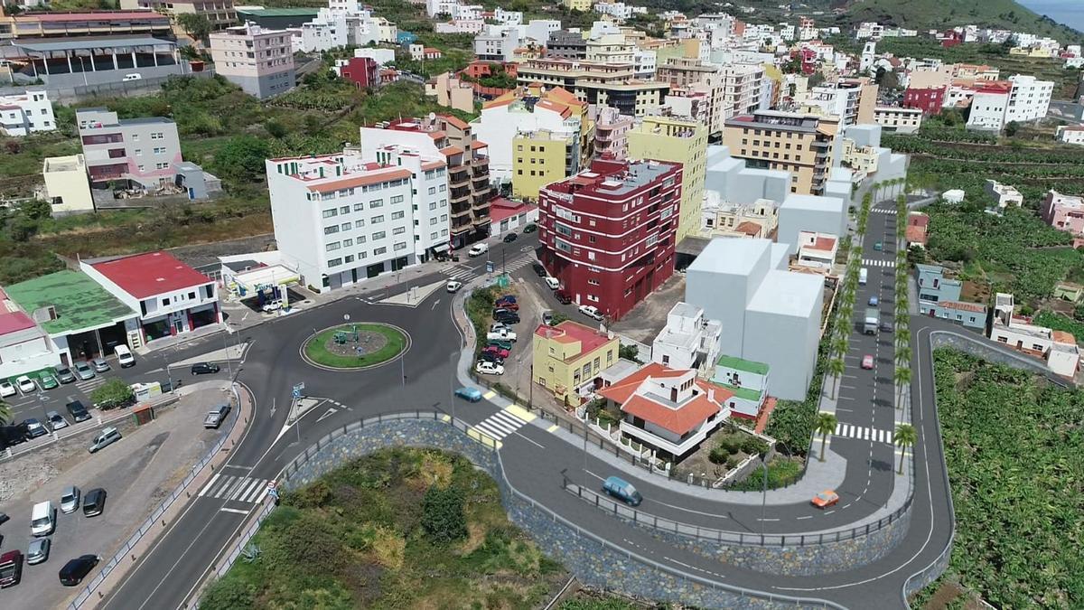 Infografia de la futura nueva avenida en el casco urbano del municipio de San Andrés y Sauces.