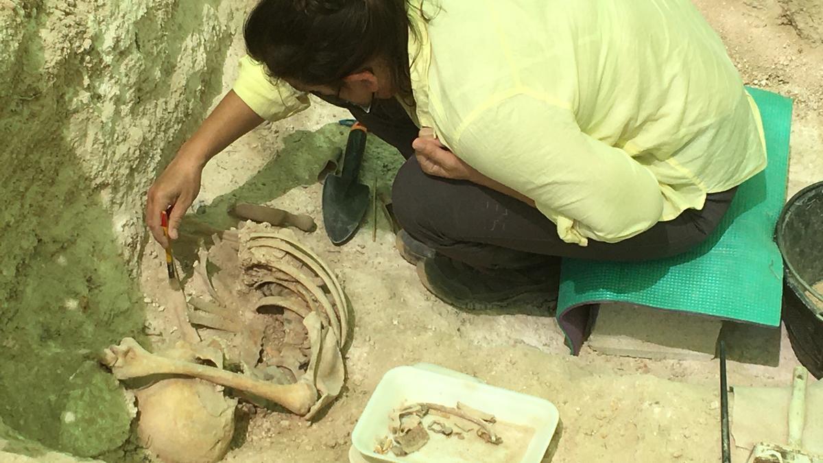 Trabajos en la fosa de Cañada Rosal para exhumar uno de los cadáveres localizados.